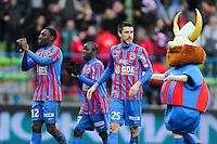 Joie Dennis APPIAH / Ngolo KANTE / Julien FERET - 01.02.2015 - Caen / Saint Etienne - 23eme journee de Ligue 1 -<br />Photo : Vincent Michel / Icon Sport
