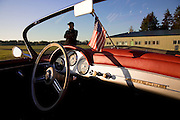 Image of a custom silver sports car dashboard, 1958 Porsche 356 Speedster in Washington state, Pacific Northwest, property released by Randy Wells