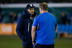 In a break between Six Nations fixtures England and Bath centre Jonathan Joseph talks to Bath Forwards Coach Neal Hatley - Photo mandatory by-line: Rogan Thomson/JMP - 07966 386802 - 06/03/2015 - SPORT - RUGBY UNION - Bath, England - The Recreation Ground - Bath Rugby v Sale Sharks - Aviva Premiership.