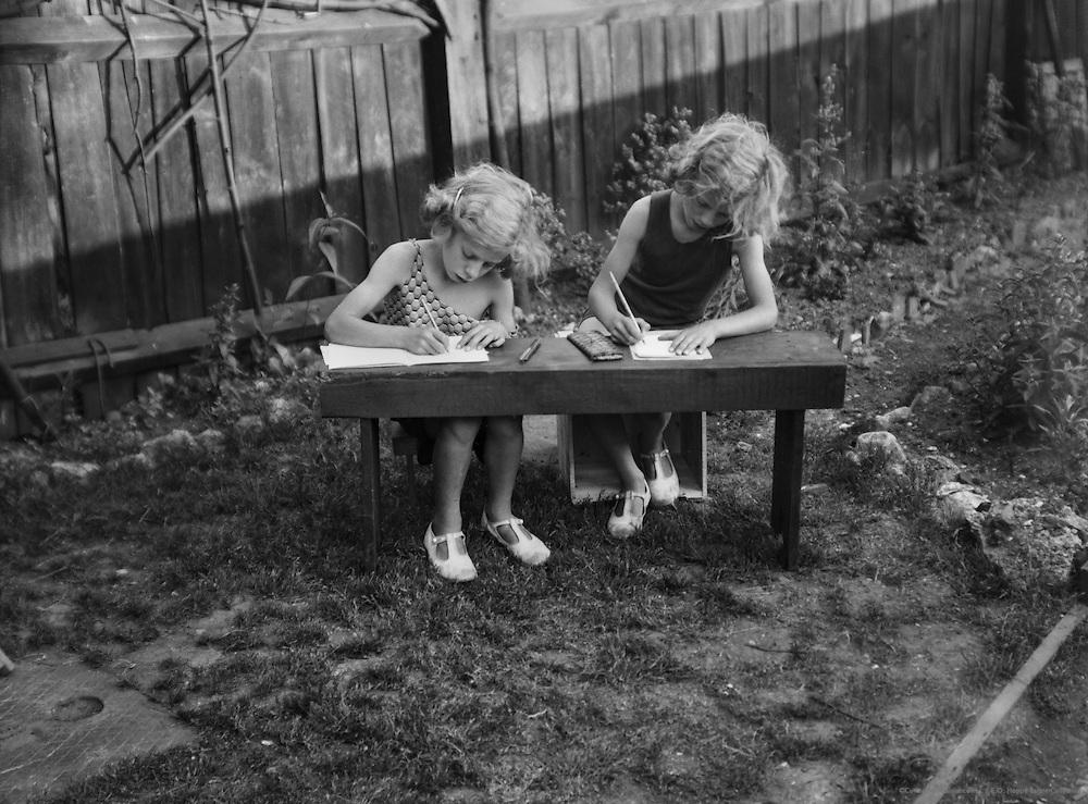Homework in the Garden During Heatwave, England, 1932