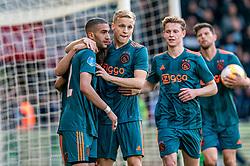 15-05-2019 NED: De Graafschap - Ajax, Doetinchem<br /> Round 34 / It wasn't really exciting anymore, but after the match against De Graafschap (1-4) it is official: Ajax is champion of the Netherlands / Nicolas Tagliafico #31 of Ajax scores 2-1. Assist Hakim Ziyech #22 of Ajax, Donny van de Beek #6 of Ajax, Frenkie de Jong #21 of Ajax, Klaas Jan Huntelaar #9 of Ajax