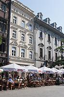 Seating for cafes around Rynek Glowny in Krakow Poland