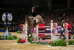 Great Britain's Scott Brash riding Hello Jefferson competes in the Turkish Airlines Olympia Grand Prix during day seven of the London International Horse Show at London Olympia.