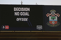 Football - 2019 / 2020 Emirates FA Cup - Third Round: Southampton vs. Huddersfield Town<br /> <br /> VAR rules out Southampton's Shane Long goal during the FA Cup tie at St Mary's Stadium Southampton<br /> <br /> COLORSPORT/SHAUN BOGGUST