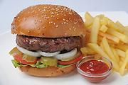 Hamburger with french fries and ketchup