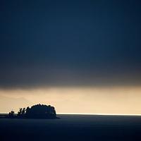 North America, USA, Alaska.  Misty Inside Passage Scenery.