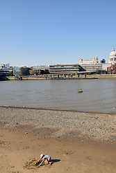 River Thames and London skyline, August 2019, UK