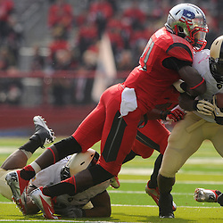 10 November 2012: Rutgers Scarlet Knights defensive back Lorenzo Waters (21) tackles Army Black Knights running back Raymond Maples (1) during NCAA college football action between the Rutgers Scarlet Knights and Army Black Knights at High Point Solutions Stadium in Piscataway, N.J..