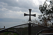 Israel, Sea of Galilee, Capernaum, Silhouette of a cross in the grounds of the Greek Orthodox Church