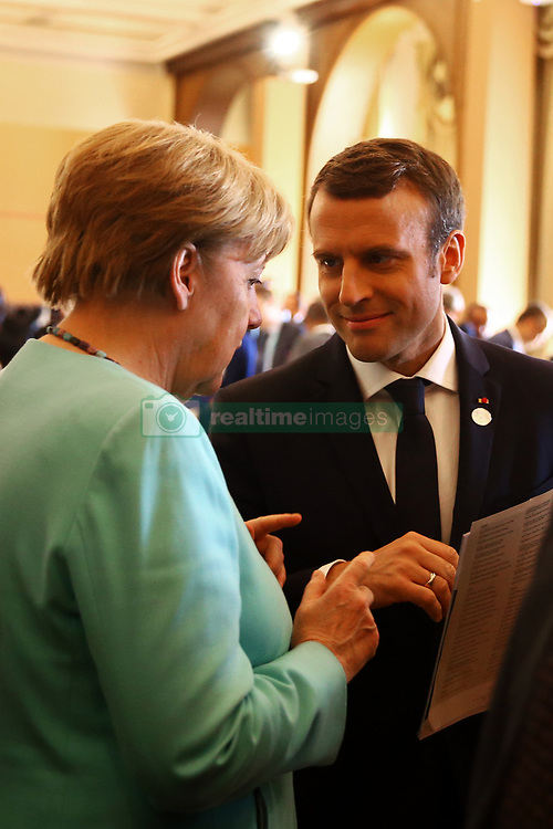 May 27, 2017 - Taormina, Italy - The Germany Chancellor Angela Merkel and the The President of the French Republic Emmanuel Macron during the Outreach session at Taormina, Italy on May 27, 2017. (Credit Image: © Matteo Ciambelli/NurPhoto via ZUMA Press)