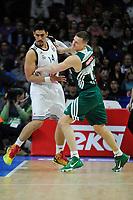 Real Madrid´s Gustavo Ayon and Zalgiris Kaunas´s -- during 2014-15 Euroleague Basketball match between Real Madrid and Zalgiris Kaunas at Palacio de los Deportes stadium in Madrid, Spain. April 10, 2015. (ALTERPHOTOS/Luis Fernandez)
