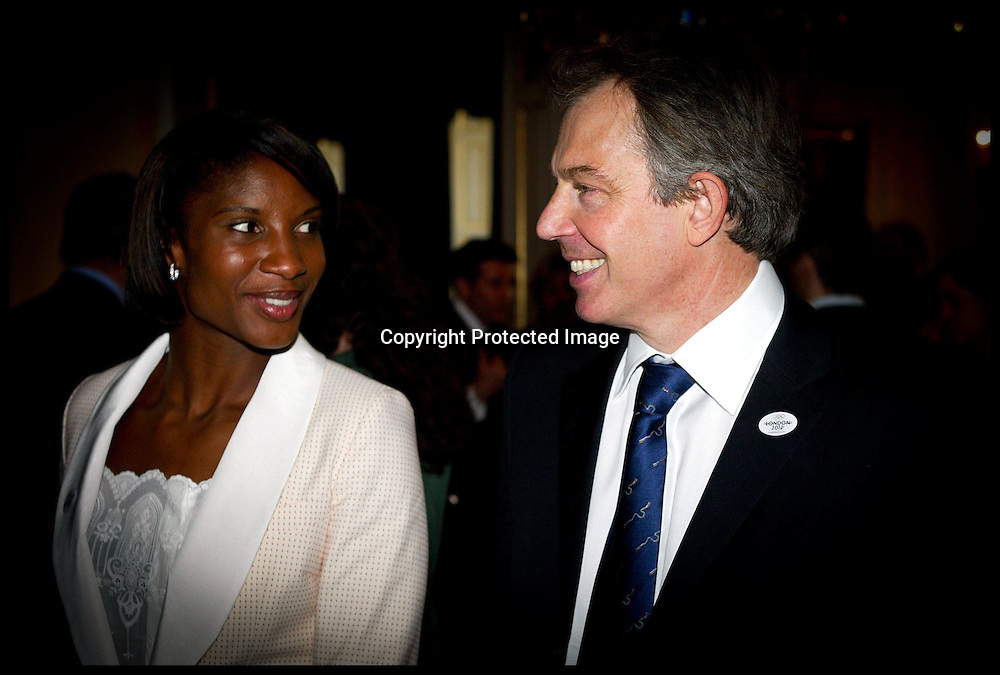 The Prime Minister Tony Blair meets atheletes incuding denise lewis at No 10 Today Friday 18th February.PA photo Andrew PArsons