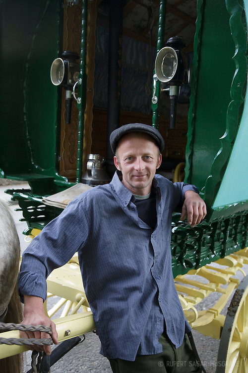 Wednesday 6th June 2012 at Appleby, Cumbria, England, UK. Horse drawn bow-top wagons arrive from all over the UK for Appleby Fair, the biggest annual gathering of Gypsies and Travellers in Europe. Jason Plant (pictured) makes his own wagons, and has spent two and a half weeks on the road to reach the fair from Stoke-on-Trent.