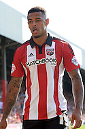 Andre Gray of Brentford looking on. Skybet football league Championship match, Brentford v Ipswich Town at Griffin Park in London on Saturday 8th August 2015.<br /> pic by John Patrick Fletcher, Andrew Orchard sports photography.