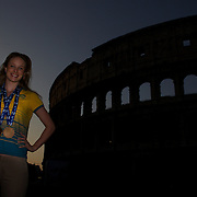 Australian Gold medal winner Marieke Guehrer during a 6am photo shoot outside the Coloseum in Rome, Italy on  Monday, August 3, 2009. Photo Tim Clayton