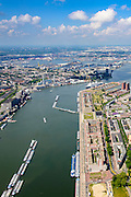 Nederland, Zuid-Holland, Rotterdam, 10-06-2015; overzicht van Katendrecht, bijgenaamd De Kaap. Links de Maashaven met binnenvaartschpen.<br /> Katendrecht peninsula, former port quarter.<br /> luchtfoto (toeslag op standard tarieven);<br /> aerial photo (additional fee required);<br /> copyright foto/photo Siebe Swart