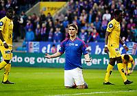 Fotball<br /> Tippeligaen<br /> Ullevål Stadion 06.04.14<br /> Vålerenga VIF - Bodø Glimt<br /> Vidar Ørn Kjartansson roper på straffe<br /> <br /> Foto: Eirik Førde