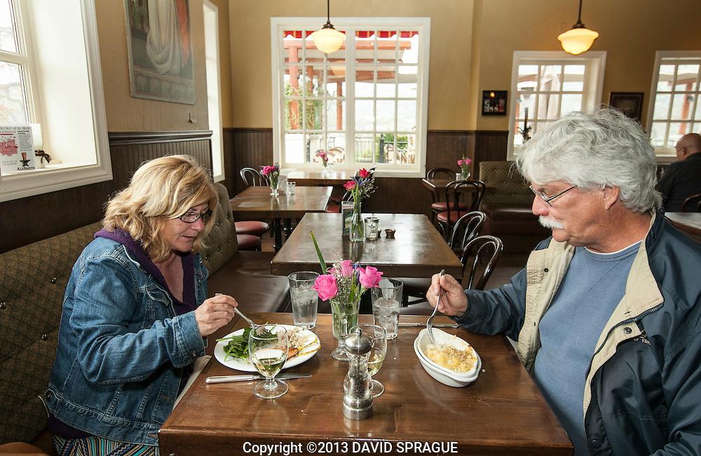 Terri and Jay Chattaway of Malibu enjoy lunch at LadyFace Ale Companie in Agoura Hills, CA. Shot Feb. 5th,  2013 Photo by David Sprague ©2013