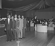 8609-R57-7. Members of the vocal group are Ed Washington (former Metro Councilor) 2nd from right, and his brother Billy is second from left. Lemuel Robinson is first on the left and his brother Manfred is third from the left (they are the two sons of John and Orell Robinson.) April 20, 1956, Location is McElroy's Ballroom Portland,