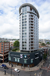 © Licensed to London News Pictures.  20/08/2017; Bristol, UK. The Eclipse Tower, above Harvey Nicholls, in the Cabot Circus shopping centre in Bristol city centre. It is reported today that the residential Eclipse Tower has the same cladding as used on Grenfell Tower which caught fire. Eclipse say that they have put in extra safety measures and kept residents fully informed. Picture credit : Simon Chapman/LNP