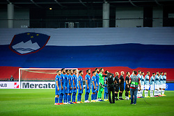 Players of Greece and Slovenia at national anthem during the UEFA Nations League C Group 3 match between Slovenia and Greece at Stadion Stozice, on September 3rd, 2020. Photo by Vid Ponikvar / Sportida
