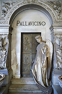 Picture and image of the stone sculpture of an angel at the doors of the Pallavicino Family tomb, sculpted by A Rivalta 1896. Section D no 27, the monumental tombs of the Staglieno Monumental Cemetery, Genoa, Italy .<br /> <br /> Visit our ITALY PHOTO COLLECTION for more   photos of Italy to download or buy as prints https://funkystock.photoshelter.com/gallery-collection/2b-Pictures-Images-of-Italy-Photos-of-Italian-Historic-Landmark-Sites/C0000qxA2zGFjd_k<br /> If you prefer to buy from our ALAMY PHOTO LIBRARY  Collection visit : https://www.alamy.com/portfolio/paul-williams-funkystock/camposanto-di-staglieno-cemetery-genoa.html