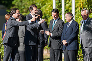 Prime Minister Mariano Rajoy with ministers Jose Manuel Soria, Jorge Fernandez Diaz, Jose Maria Margallo