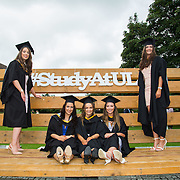 """23.08.2016       <br /> Over 300 students graduated from the Faculty of Arts Humanities and Social Sciences at the University of Limerick today. <br /> <br /> Attending the conferring ceremony were, Bachelor of Arts in Law and Accounting graduates, Danielle McNamara, Ferris Road, Co. Clare, Rachel Kennedy, Templederry Co. Tipperary, Dawn Brophy, Mountrath Co. Laois, Ciara McGrath, Nenagh Co.Tipperary and Sarah Keane, Dingle Co. Kerry. Picture: Alan Place.<br /> <br /> <br /> <br /> <br /> UL Graduates Employability remains consistently high as they are 14% more likely to be employed after Graduation than any other Irish University Graduate<br /> Each year, the Careers Service collects information about the 'First Destinations' of UL graduates. During the April/May period following graduation, we survey those who have completed full-time undergraduate and postgraduate courses for details on their current status. This current survey was conducted nine months after graduation and focuses on the employment and further study patterns of the graduates of 2015. A total of 2,933 graduates were surveyed and a response rate of 87% was achieved. <br /> As the University of Limerick commences four days of conferring ceremonies which will see 2568 students graduate, including 50 PhD graduates, UL President, Professor Don Barry highlighted the continued demand for UL graduates by employers; """"Traditionally UL's Graduate Employment figures trend well above the national average. Despite the challenging environment, UL's graduate employment rate for 2015 primary degree-holders is now 14% higher than the HEA's most recently-available national average figure which is 58% for 2014"""". The survey of UL's 2015 graduates showed that 92% are either employed or pursuing further study."""" Picture: Alan Place"""