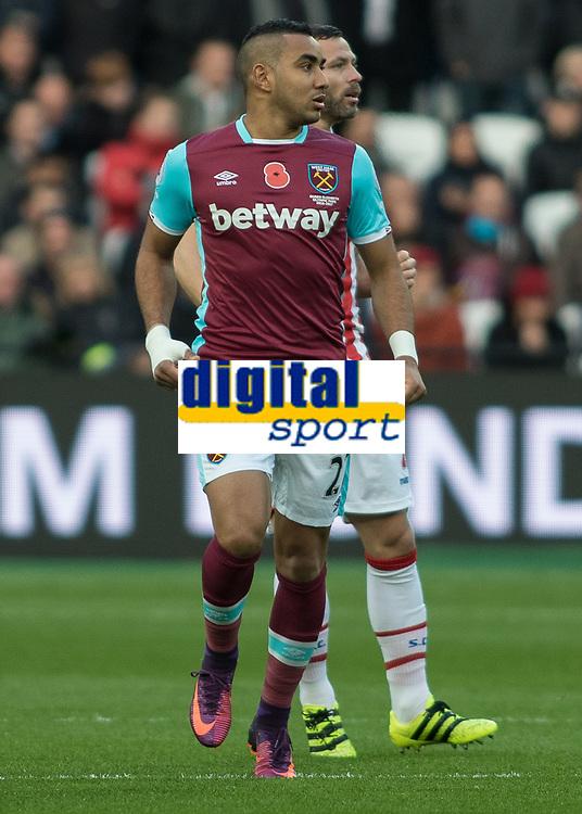 Football - 2016 / 2017 Premier League - West Ham United vs. Stoke City<br /> <br /> Dimitri Payet of West Ham at The London Stadium.<br /> <br /> COLORSPORT/DANIEL BEARHAM