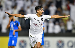 Baghdad Bounedjah of Al Sadd celebrates after scoring the second goal against Esteghlal FC during the AFC Asian Champions League quarter-final second legs football match between Qatar's Al Sadd and Iran's Esteghlal FC at Jassim Bin Hamad Stadium Doha, Capital of Qatar, september 17, 2018. Al Sadd qualifying the semi-finals after a 2-2 draw in the second leg of their quarter-final clash with Esteghlal FC gave them a 5-3 aggregate win  (Credit Image: © Nikku/Xinhua via ZUMA Wire)