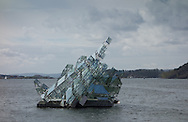 """""""She Lies,"""" a steel and glass sculpture by Monica Bonvicini, is found near the Operahuset in Oslo, Norway, on May 10, 2013. (© 2013 Cindi Christie)"""