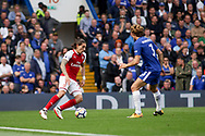 Hector Bellerin of Arsenal looks to go past Marcos Alonso of Chelsea. Premier league match, Chelsea v Arsenal at Stamford Bridge in London on Sunday 17th September 2017.<br /> pic by Kieran Clarke, Andrew Orchard sports photography.