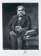 Thomas Henry Huxley (1825-1895) British biologist, supporter of Darwin and evolution. Grandfather of Julian and Aldous Huxley. Huxley at his desk c1890. Engraving after portrait by John Collier