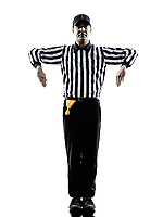 american football referee gestures illegal shift in silhouette on white background