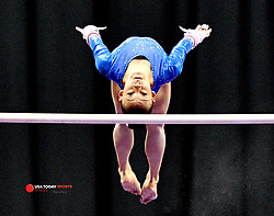 Aug 9, 2019; Kansas City, MO, USA; Leanne Wong performs on the uneven bars during the 2019 U.S. Gymnastics Championships at Sprint Center. Mandatory Credit: Denny Medley-USA TODAY Sports