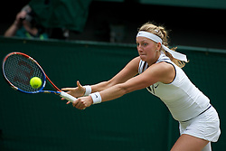 02.07.2011, Wimbledon, London, GBR, WTA Tour, Wimbledon Tennis Championships, Final, im Bild Petra Kvitova (CZE) in action during the Ladies' Singles Final on day twelve of the Wimbledon Lawn Tennis Championships at the All England Lawn Tennis and Croquet ClubEXPA Pictures © 2011, PhotoCredit: EXPA/ Propaganda/ David Rawcliffe +++++ ATTENTION - OUT OF ENGLAND/UK +++++