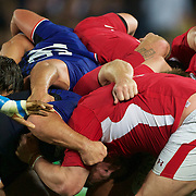 The scrum packs down during the Wales V France Semi Final match at the IRB Rugby World Cup tournament, Eden Park, Auckland, New Zealand, 15th October 2011. Photo Tim Clayton...