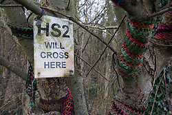 A sign indicating the route of the HS2 high-speed rail link is pictured on 20th February 2021 in Wendover, United Kingdom. Activists opposed to HS2 continue to occupy the nearby Wendover Active Resistance Camp.