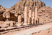 Middle East, Jordan, Petra, UNESCO World Heritage Site. The Colonnaded Street. April 2008