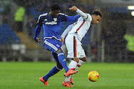 Cardiff City's Bruno Ecuele Manga (l) tackles former Cardiff striker Nicky Maynard ® of MK Dons. Skybet football league championship match, Cardiff city v MK Dons at the Cardiff city stadium in Cardiff, South Wales on Saturday 6th February 2016.<br /> pic by Carl Robertson, Andrew Orchard sports photography.