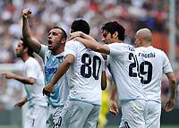 Fotball<br /> Italia<br /> Foto: Insidefoto/Digitalsport<br /> NORWAY ONLY<br /> <br /> L'esultanza di Andre Dias (Lazio) per il gol dell' 1-1<br /> Lazio player Andre Dias celebrates his 1-1  goal <br /> <br /> 25.04.2010<br /> Genoa v Lazio<br /> Campionato di Serie A Tim 2009-10.