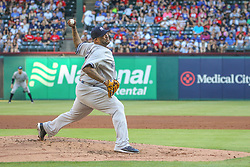 May 23, 2018 - Arlington, TX, U.S. - ARLINGTON, TX - MAY 23: New York Yankees starting pitcher CC Sabathia (52) throws to the plate during the game between the New York Yankees and the Texas Rangers on May 23, 2018 at Globe Life Park in Arlington, TX. (Photo by George Walker/Icon Sportswire) (Credit Image: © George Walker/Icon SMI via ZUMA Press)