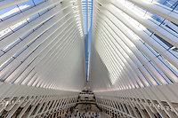 NEW YORK CITY- MARCH 25, 2018 : interior view of The Occulus World Trade Center station  design by architect  Manhattan Landmarks