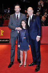Patrick Stewart, Dafne Keen and Hugh Jackman attending the Logan Premiere during the 67th Berlin International Film Festival (Berlinale) in Berlin, Germany on Februay 17, 2017. Photo by Aurore Marechal/ABACAPRESS.COM