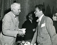 1945 Frank Sinatra chats with Senator Guy Gillette at Ciro's Nightclub on the Sunset Strip