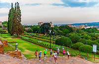 Group of people stretching in the gardens of The Union Buildings, Pretoria (Tshwane), South Africa.