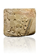 Upright picture of Alaca Hoyuk Sphinx Gate Hittite monumental relief sculpted orthostat stone panel. Andesite, Alaca, Corum, 1399 - 1301 B.C. Jugglers and acrobats.  Anatolian Civilizations Museum, Ankara, Turkey<br /> <br /> The juggler facing towards left, with long hair and a short dress, swallows a dagger; the smaller acrobats behind go up the stairs without holding on. All the figures have horned headdresses and earrings with a huge ring on their ears. It is thought that the acrobats are of different nationality, which is the reason why they are depicted smaller. <br /> <br />  Against a white background. .<br />  <br /> If you prefer to buy from our ALAMY STOCK LIBRARY page at https://www.alamy.com/portfolio/paul-williams-funkystock/hittite-art-antiquities.html . Type - Aalca Hoyuk - in LOWER SEARCH WITHIN GALLERY box. Refine search by adding background colour, place, museum etc.<br /> <br /> Visit our HITTITE PHOTO COLLECTIONS for more photos to download or buy as wall art prints https://funkystock.photoshelter.com/gallery-collection/The-Hittites-Art-Artefacts-Antiquities-Historic-Sites-Pictures-Images-of/C0000NUBSMhSc3Oo