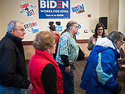 21 JANUARY 2020 - AMES, IOWA: People walk into a Joe Biden campaign event at the Gateway Hotel and Conference Center in Ames, Tuesday. About 150 people came to listen to former Vice President Biden talk about his reasons for running for President. Iowa hosts the first event of the presidential election cycle. The Iowa Caucuses are Feb. 3, 2020.       PHOTO BY JACK KURTZ
