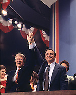 Jimmy Carter and Walter Mondale on the final night of the Democratic Convention 1976..Photograph by Dennis Brack bb 27