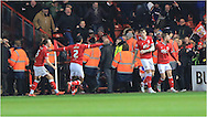 Luke Ayling celebrates during the Sky Bet Championship match between Bristol City and Middlesbrough at Ashton Gate, Bristol, England on 16 January 2016. Photo by Daniel Youngs.